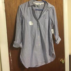 Pinstripe tunic button down